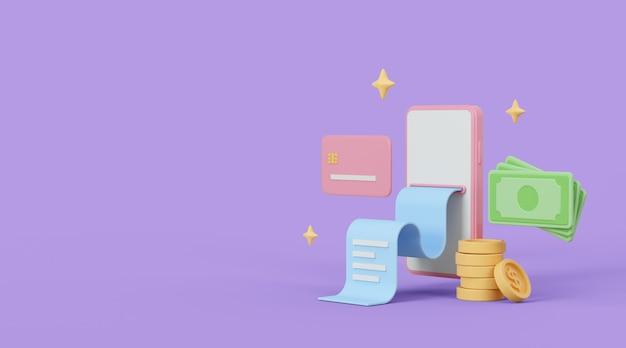 Online betalingsconcept 3d illustratie internet winkelen en bankieren samenstelling