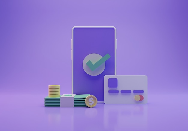 Online betalingsillustratie, het 3d teruggeven
