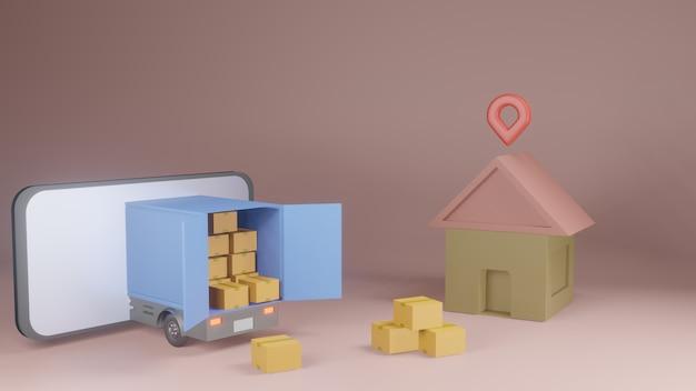 Online bezorgservice app-concept, bestelwagen en mobiele telefoon met kaart. 3d-weergave