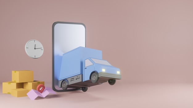 Online bezorgservice app-concept, bestelwagen en mobiele telefoon met kaart. 3d