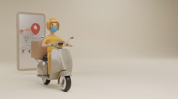 Online bezorgservice per scooter met maskers concept. 3d-weergave.