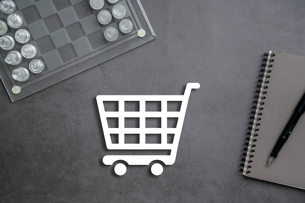 Online business & shopping concept op stationaire achtergrond