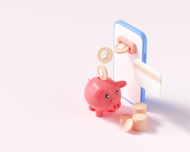 Online cashback-concept. munten of geldoverdracht van smartphone naar spaarvarken. online bankieren. geld besparen, geld teruggave... 3d render illustratie