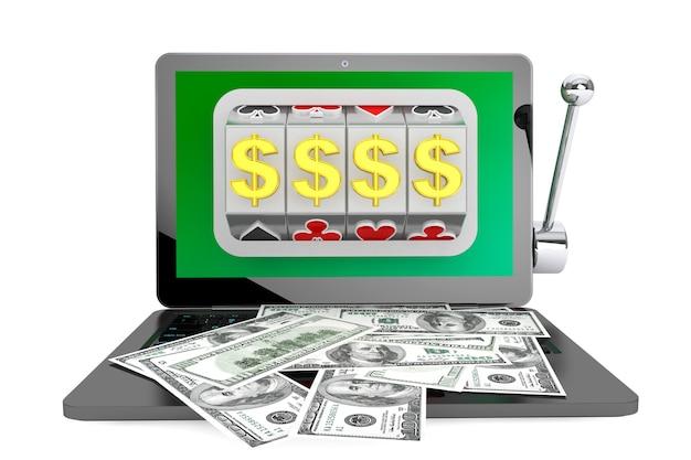 Online casino-concept. gokautomaat binnen laptop met dollars op een witte achtergrond