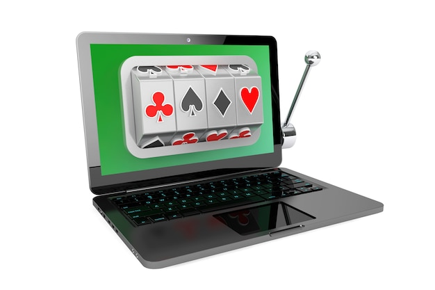 Online casino-concept. gokautomaat binnen laptop op een witte achtergrond