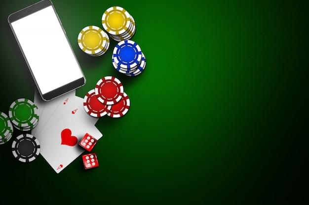 Online casino, mobiel casino, mobiele telefoon, chipskaarten op groen