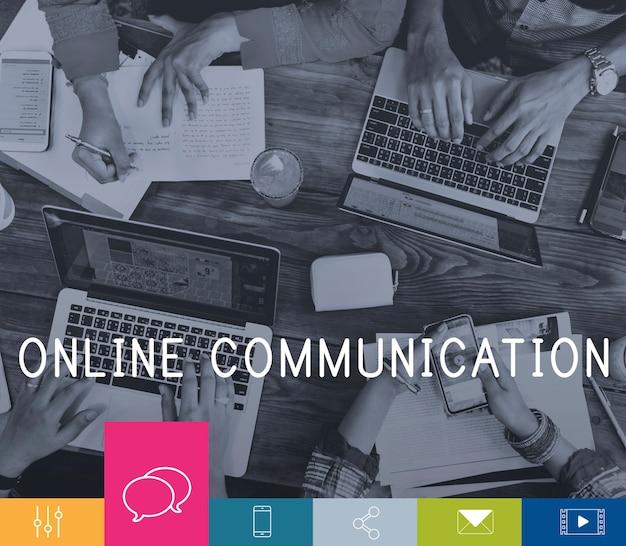 Online communicatie verbinding netwerkpictogram