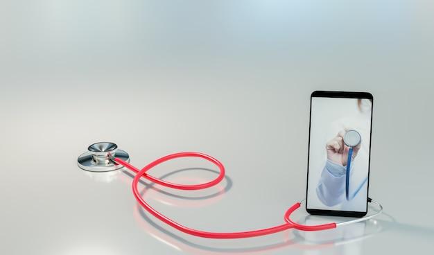 Online consult en online medisch onderzoek of telegeneeskundeconcept, 3d-illustratieweergave