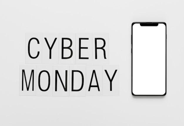 Online cyber maandag bericht met telefoon