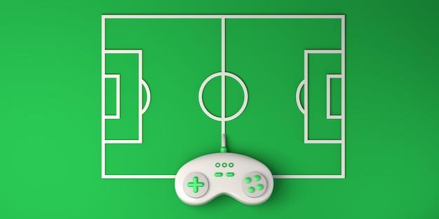 Online e-sportconcept. gamepad met voetbalveld. gamer. gamen. banier. 3d illustratie.