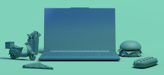 Online eten kopen met laptop afhalen bezorgen motorfiets pizza hamburger friet ruimte kopiëren