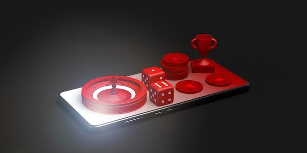 Online gokken banner op smartphone 3d illustratie casino concep