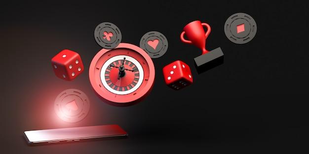 Online gokken banner op smartphone 3d illustratie casino concept