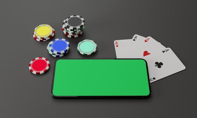Online gokken, casinoconcept. pokerfiches en smartphone met groen scherm op grijze vilt achtergrond. 3d
