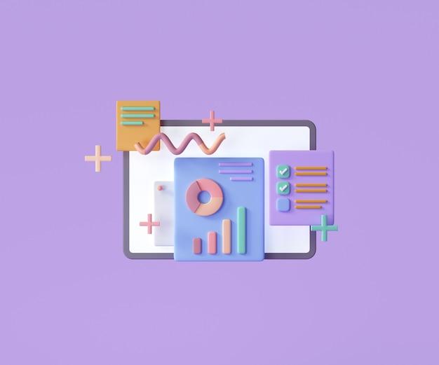 Online marketing, financiële rapportgrafiek, gegevensanalyse en webontwikkelingsconcept. 3d render illustratie