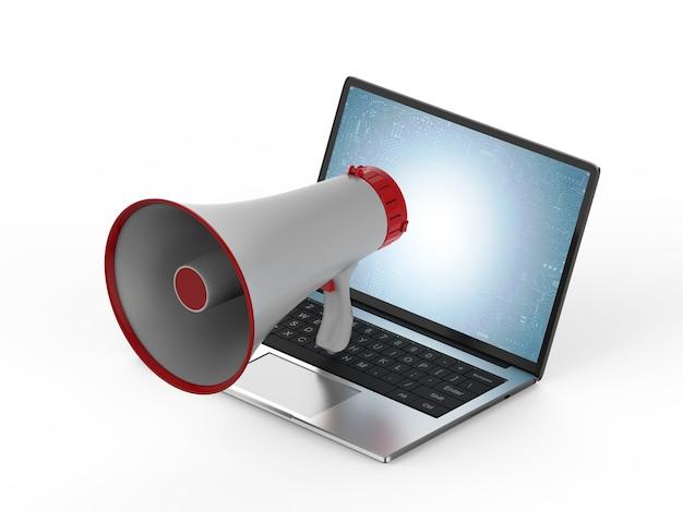 Online marketingconcept met megafoon op computernotitieboekje