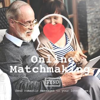 Online matchmaking daterend tekenconcept