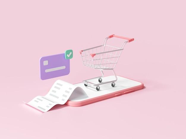 Online mobiel winkelconcept, winkelen op smartphone met transactiecreditcard. 3d render illustratie
