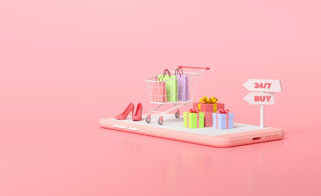 Online mobiel winkelen concept. cadeau en winkelwagentje bovenop smartphone