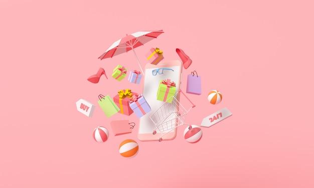 Online mobiel winkelen concept. cadeau, strandbal, paraplu, schoen, zonnebril en winkelwagentje