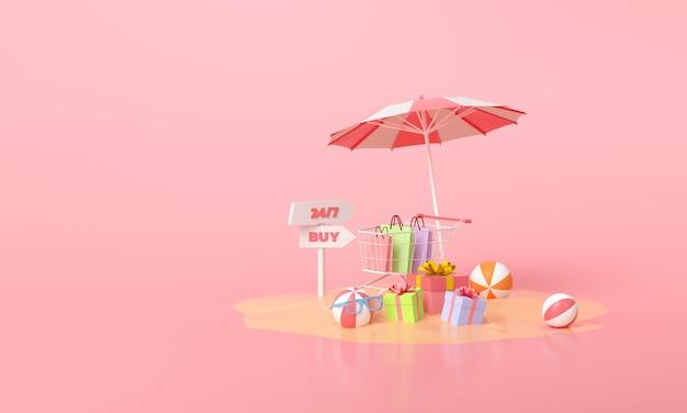 Online mobiel winkelen concept. zomer verkoop promotie geschenk en winkelwagentje op roze