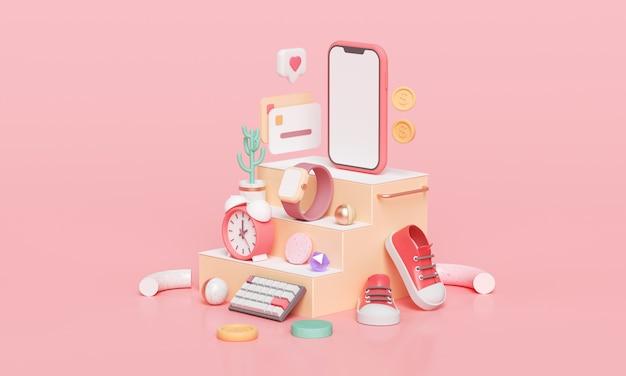 Online mobiel winkelen, smartphone, horloge, klok en schoen op trap. 3d render winkelen op smartphone-applicatie. 3d-weergave