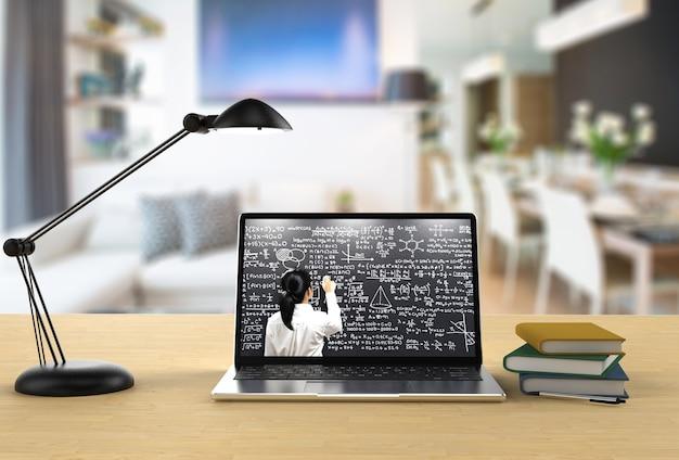 Online onderwijs met leraar lesgeven op 3d-rendering computernotitieboekje