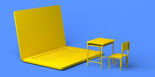 Online school laptop voor klas bureau 3d illustratie ruimte kopiëren