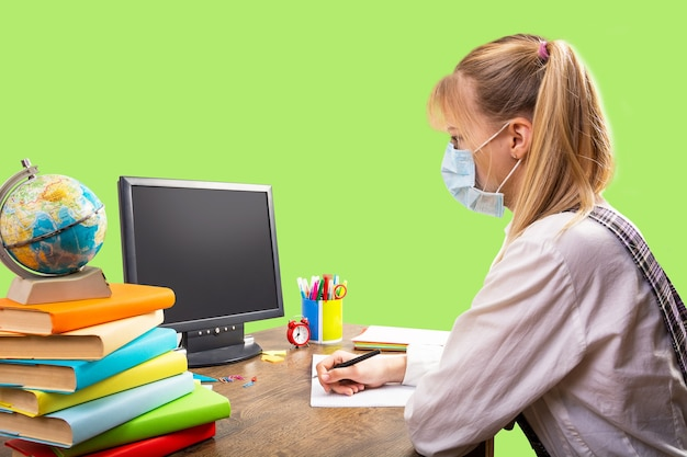 Online school, thuistraining tijdens de quarantaineperiode.