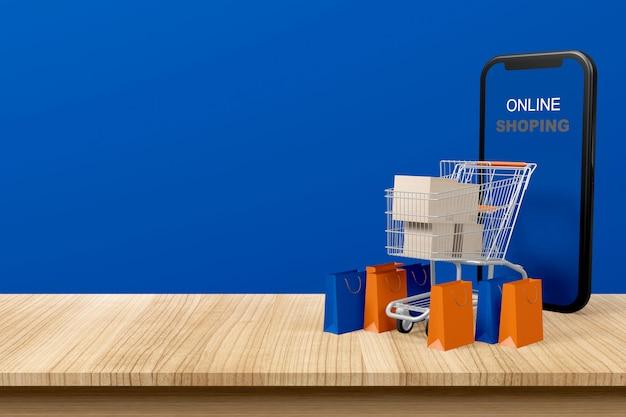 Online shoppen met smartphone, speelgoedkar, pakjes en boodschappentassen