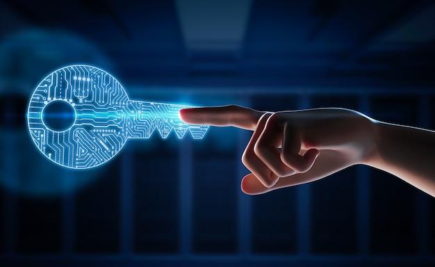 Online veiligheidsconcept met 3d-rendering menselijke vinger wijzen op digitale sleutel afbeelding