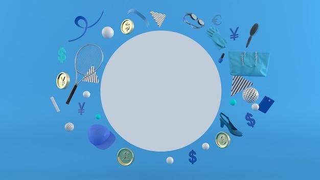 Online winkel, boodschappentassen, portemonnee, banken en munten te midden van kleurrijke ballen op een achtergrond.