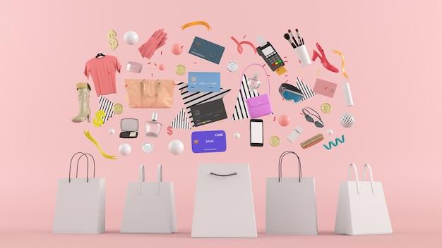 Online winkel, boodschappentassen, portemonnee, banken en munten