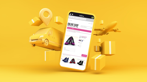 Online winkel levering concept