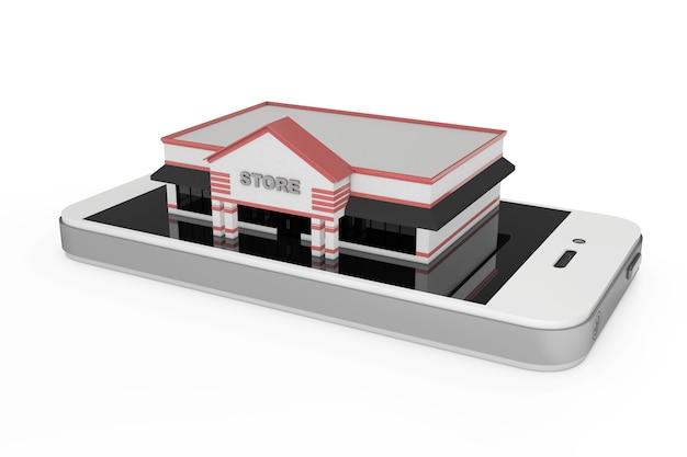 Online winkelconcept. grote winkel gebouw over abstracte mobiele telefoon op een witte achtergrond. 3d-rendering