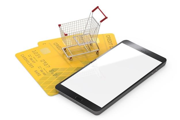 Online winkelconcept met creditcard en mobiele telefoon