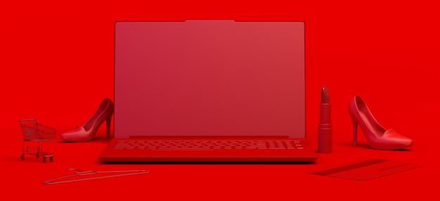 Online winkelconcept met laptop winkelwagen lippenstift creditcard kopieer ruimte e-commerce