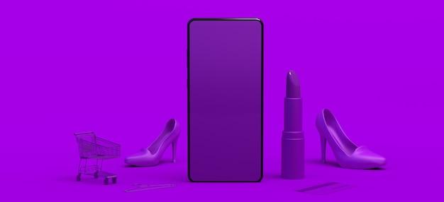 Online winkelconcept met smartphone winkelwagen lippenstift creditcard kopieer ruimte e-commerce