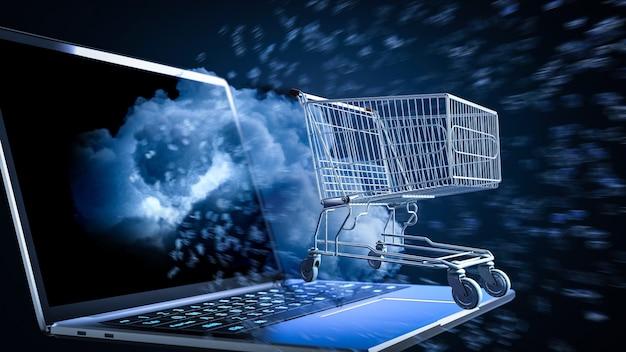 Online winkelconcept met winkelwagen