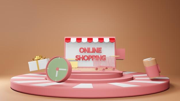 Online winkelen concept met podium met winkelwagen, klok en geschenkdoos