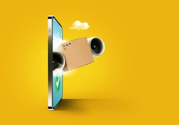 Online winkelen en bezorgen, concept. mobiele telefoon en pakketdoos met turbines die uit het display vliegen.