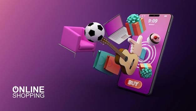 Online winkelen, mobiele applicatie, 3d-rendering illustratie