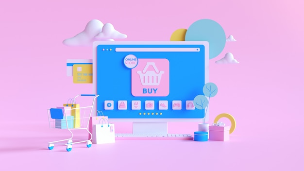 Online winkelen. online winkel op website of mobiele applicatie. 3d-rendering achtergrond. digitale marketingwinkel