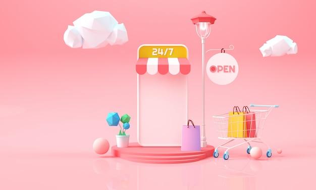Online winkelen op de telefoon. online marketing achtergrond voor reclame, banner, brochure en websjabloon. 3d rendering illustratie.