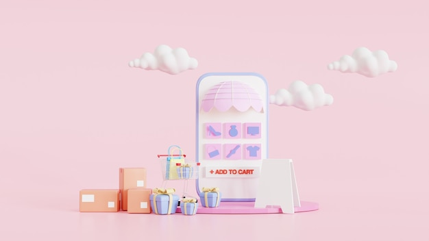 Online winkelen op mobiele applicatie concept. met een boodschappentas en doos. roze minimale achtergrond en blauw smartphone showcase display icoon op planken. digitale marketing. 3d render illustratie