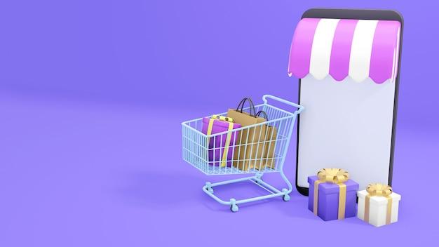 Online winkelen op mobiele telefoon in paarse achtergrond. 3d illustratie, 3d-rendering