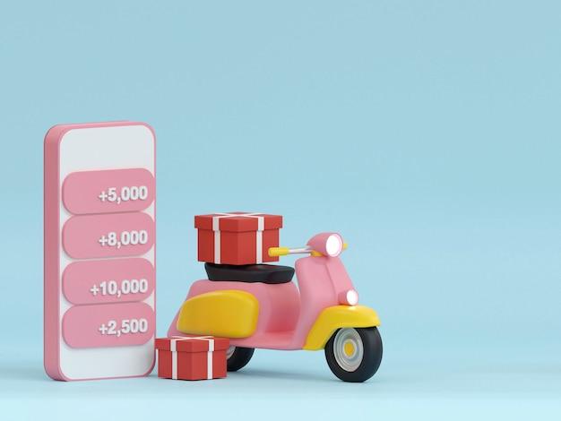 Online winkelen op website of mobiele applicatie concept marketing en digitale marketing 3d render