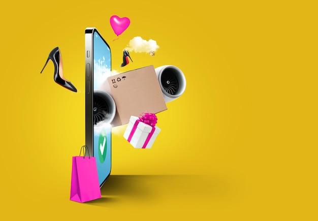 Online winkelen via telefoon, concept. smartphone met vliegende verpakkingsdoos, damesschoenen, sieraden, cadeau en boodschappentas van weergave op gele achtergrond. express levering