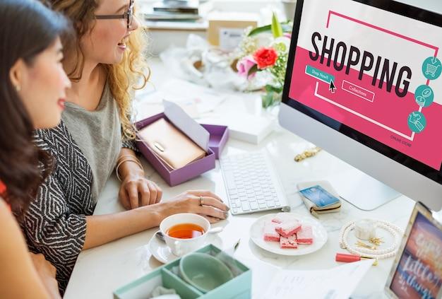 Online winkelwagen e-commers concept