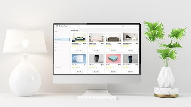 Online winkelwebsite op computer op minimaal bureaublad met lamp en plant 3d-rendering